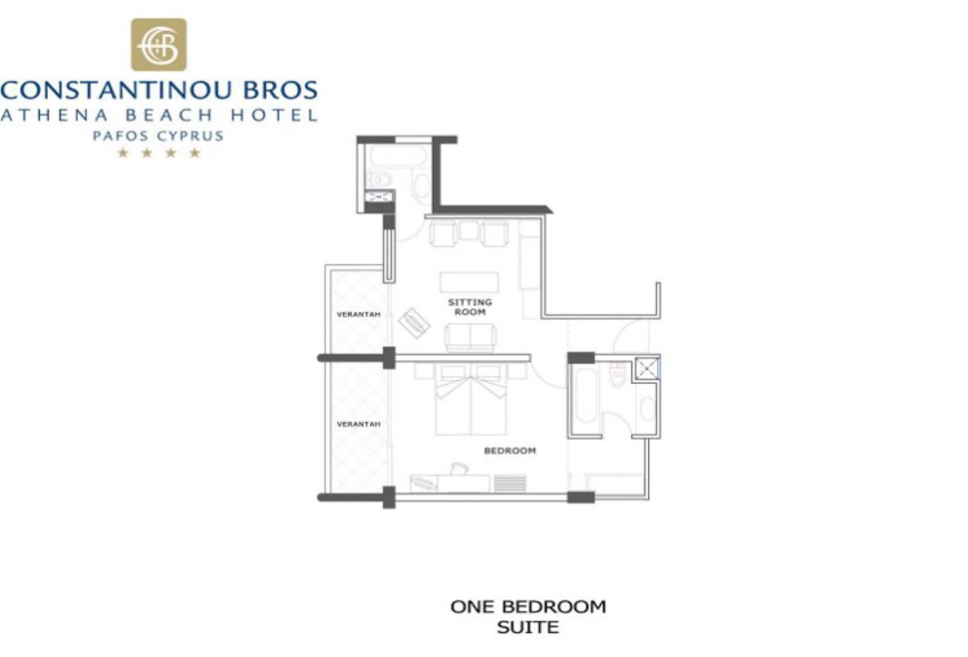 One bedroom suite plan view