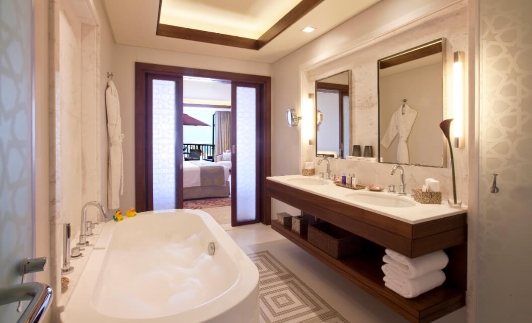 Sea view two bed suite bathroom