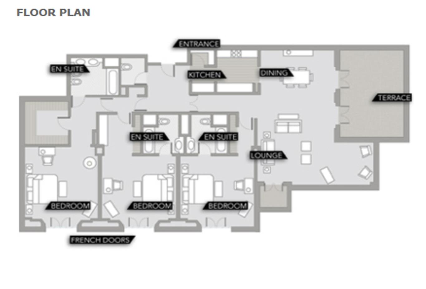 Three Bedroom Suite Floorplan