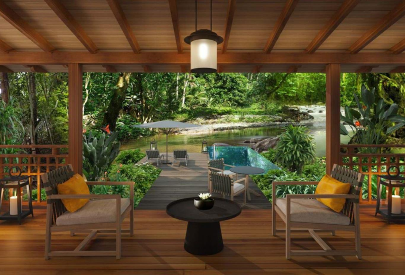 Rainforest pool villa living