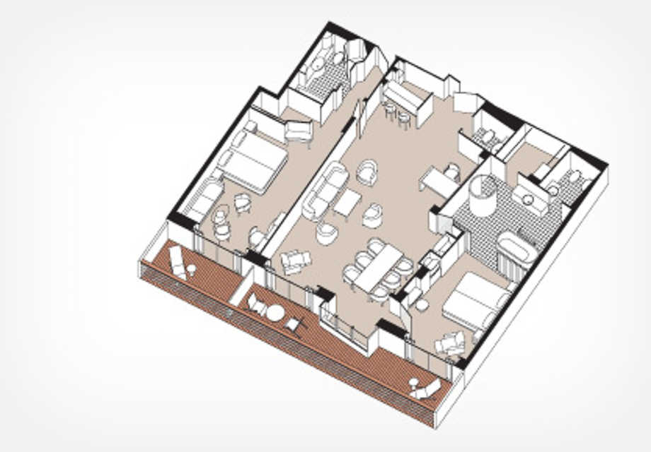 Seven Seas Voyager - Rooms - Master Suite - Plan (Deck 11)