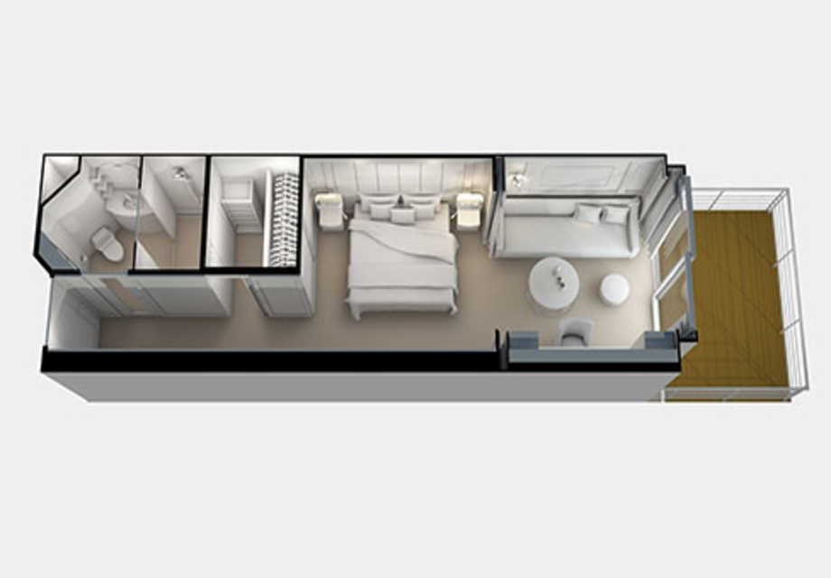 Seven Seas Splendor - Rooms - Deluxe Veranda Suite - Plan