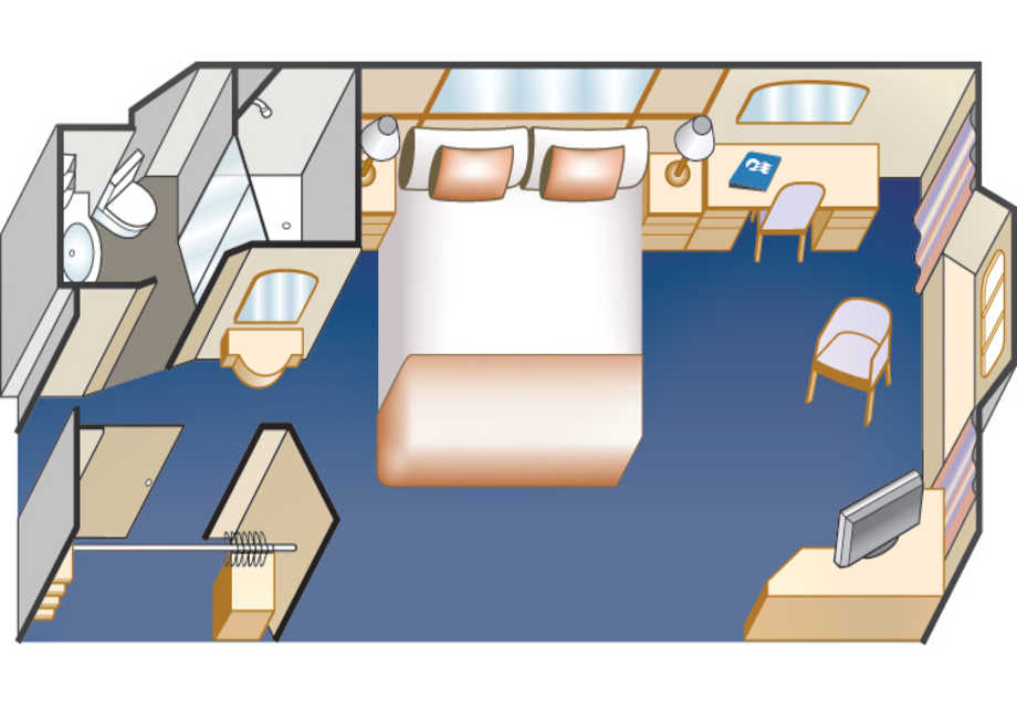 Dawn Princess - Rooms - Oceanview (Obstructed) - Plan