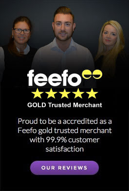 Proud to be accredited as a Feefo gold trusted merchant with 99.9 percent satisfaction rating