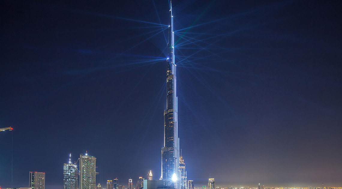 Burj Khalifa lit up at night