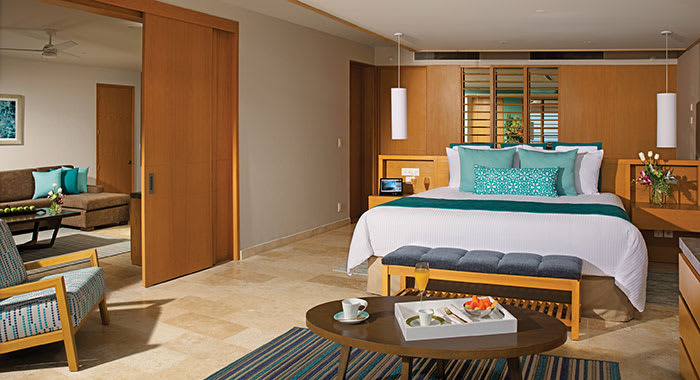 Double bedroom with room service on table