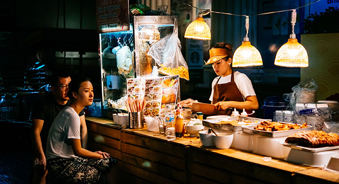 Street vendor at night in Thailand