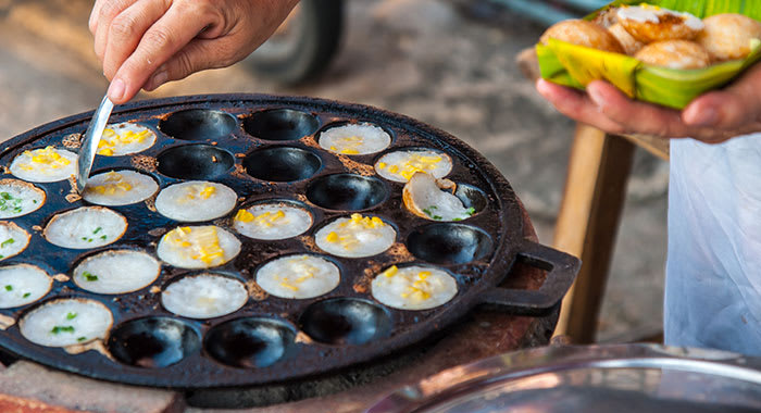 kanom krok Thai coconut pudding