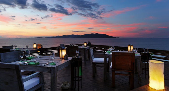 Dining on the rocks as the sun sets