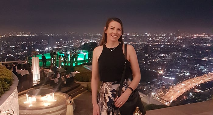 Katherine Starkey at the world's highest al fresco restaurant in Sirocco Bangkok