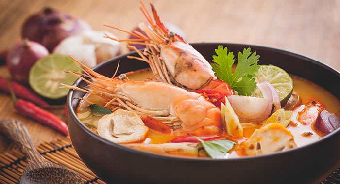 Bowl of seafood and whole prawns