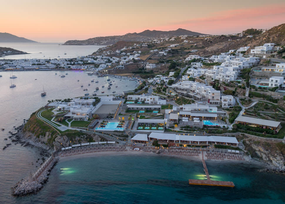Santa Marina Mykonos Aerial View Evening