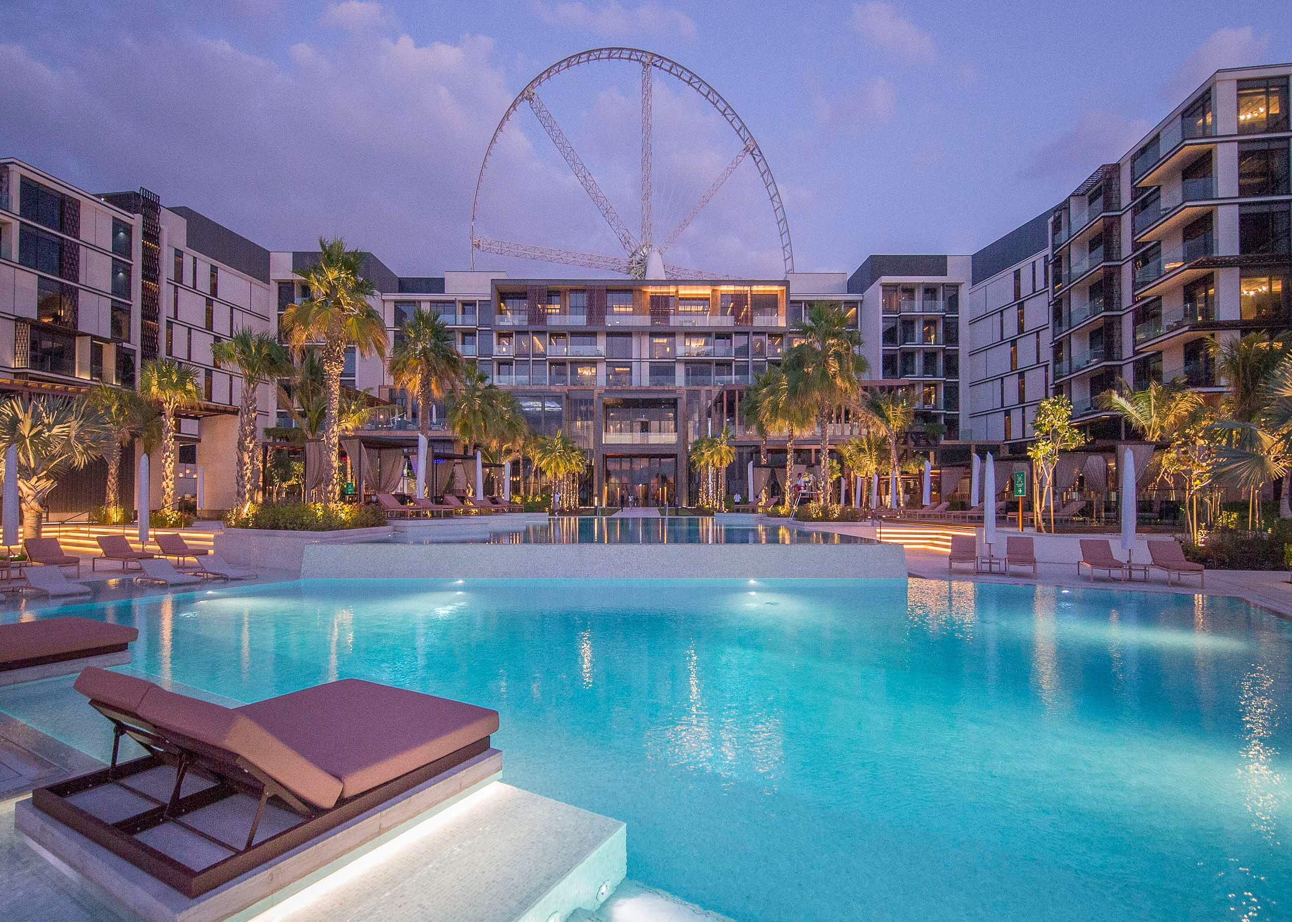 Resort pool with observation wheel
