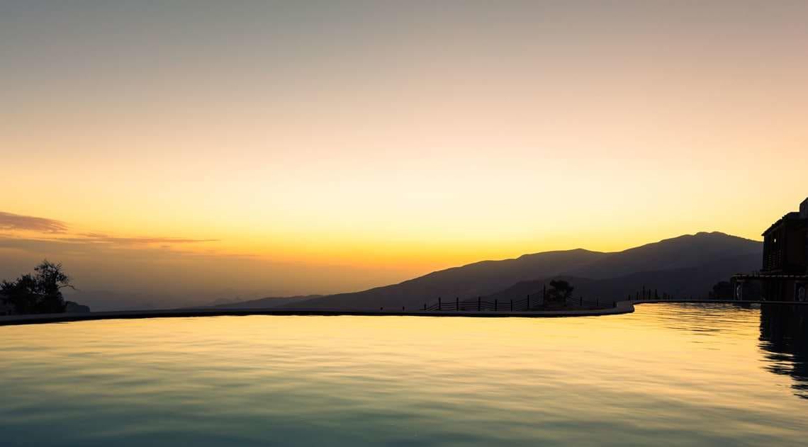 Pool sunrise at Alila Jabal Akhdar