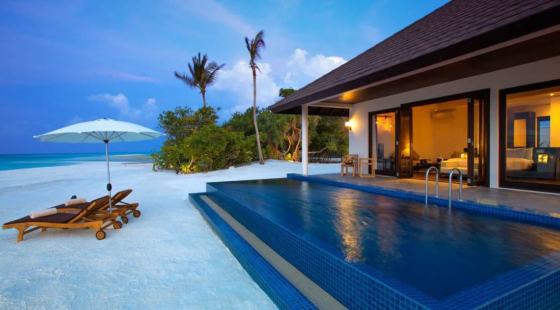 Sunset pool villa exterior