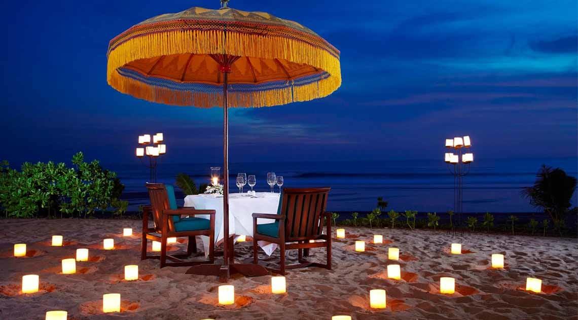Oberoi candlelit dinner on beach