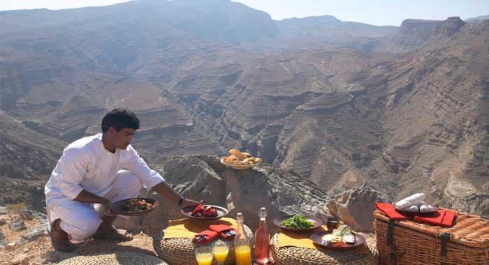 Mountain picnic at Six Senses Zighy Bay