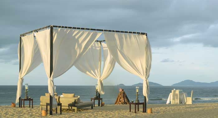 The Nam Hai romantic dinner on beach