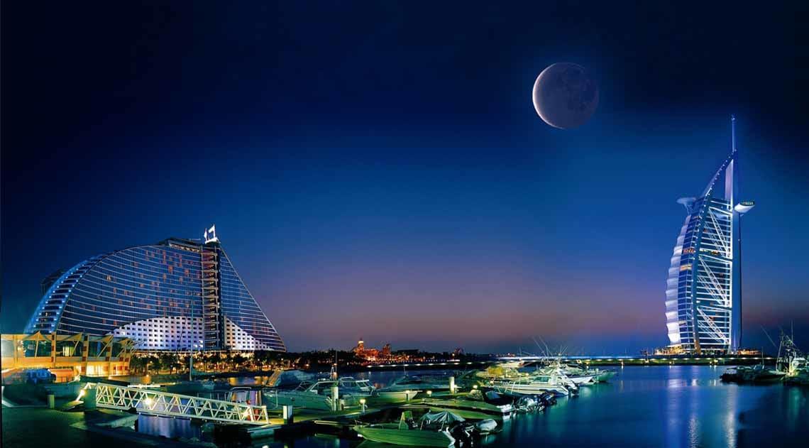 Burj Al Arab and Jumeirah Beach Hotel new moon ramadan