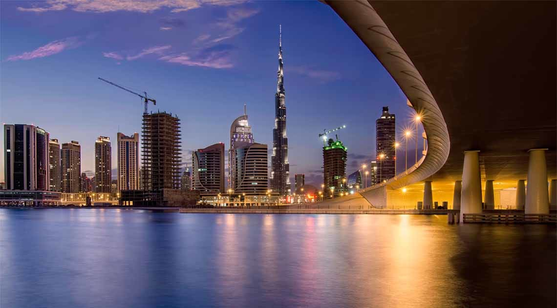 Burj Khalifa nighttime skyline