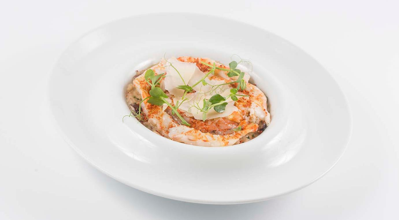 Crème Chestnut soup and Carabineiro - king prawns