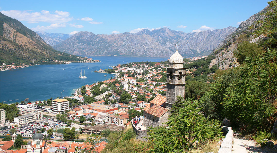 Aerial view over the old-town of Kotor in Montenegro