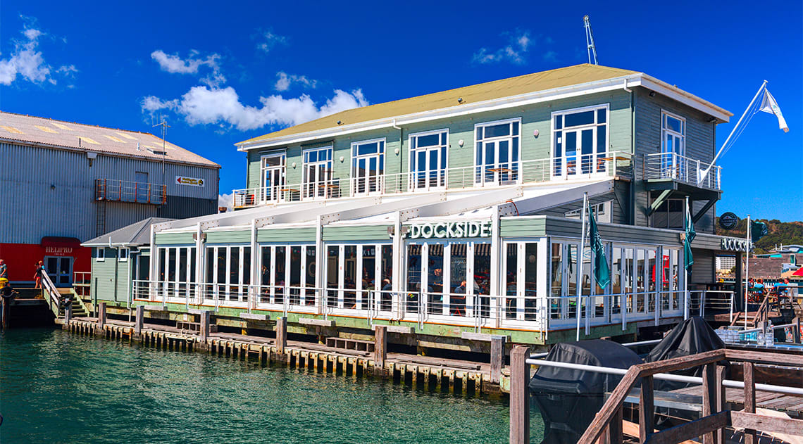 """The Dockside"" restaurant and bar at Queens wharf, Wellington city"