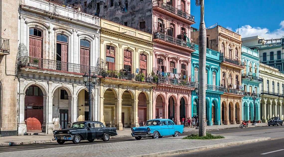 Classic Cars and Colourful Buildings