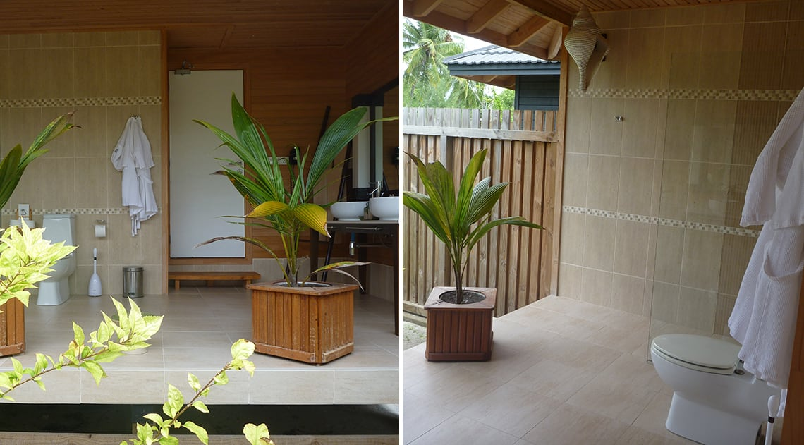 Outdoor bathroom at Kuredu Maldives