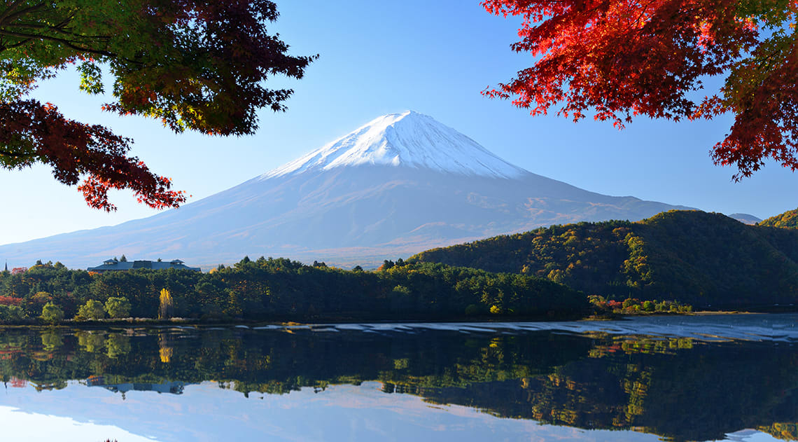 Fuji Lake with snowcapped mountain in the background which reflects onto the lake
