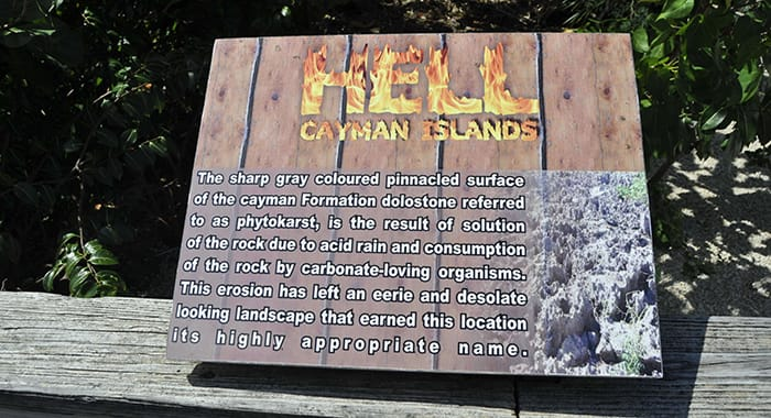 A plaque describing what hell is and black limestone in boggy ground