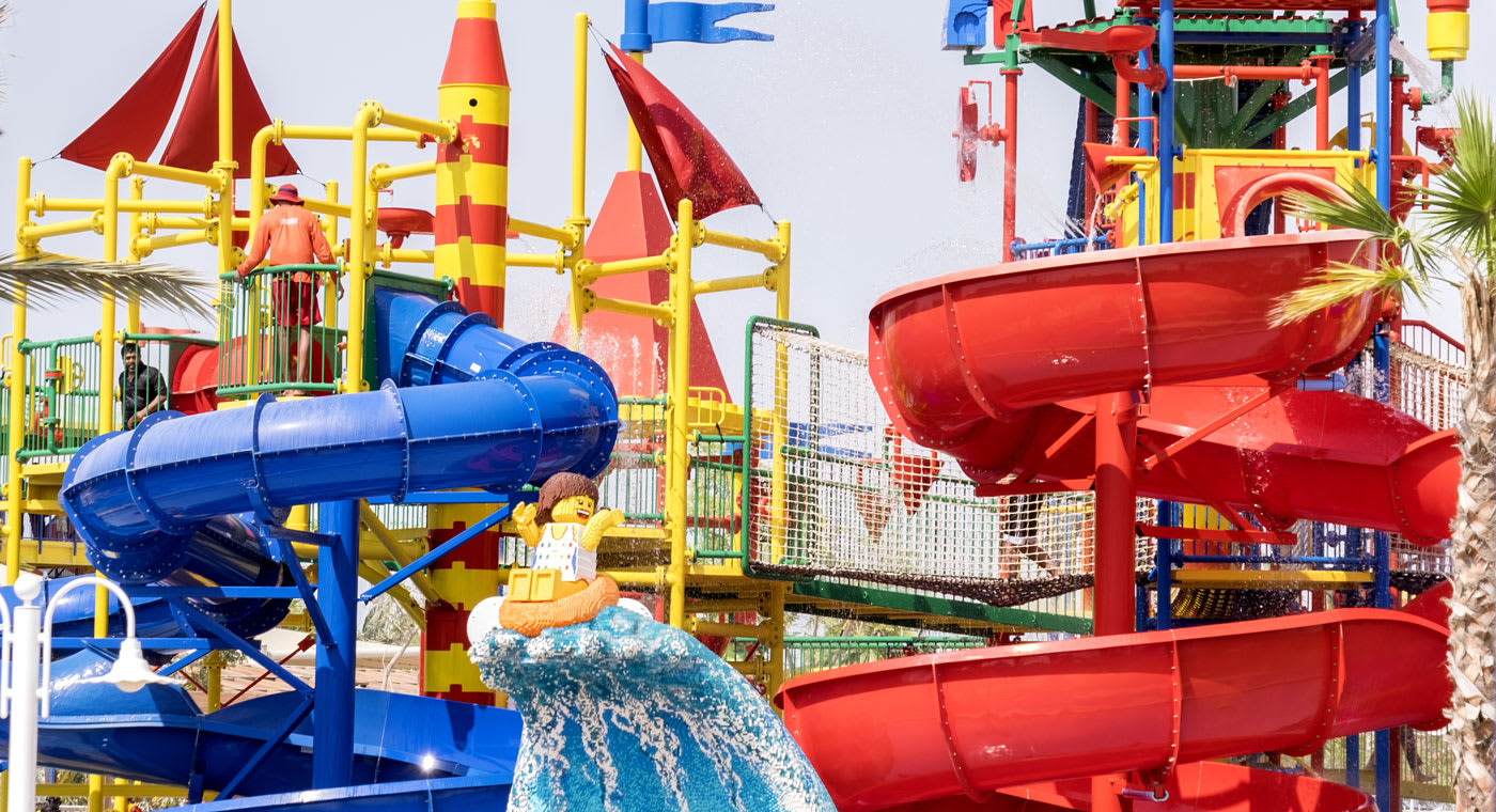 Dubai Legoland water park with water shoots and Lego figures