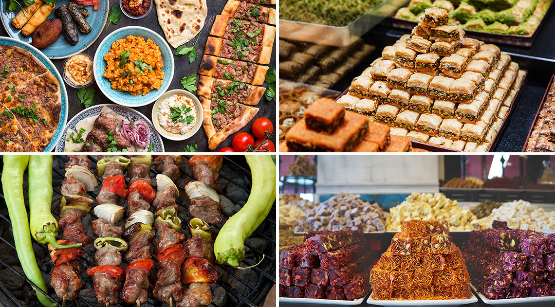 A variety of Turkish delicacies