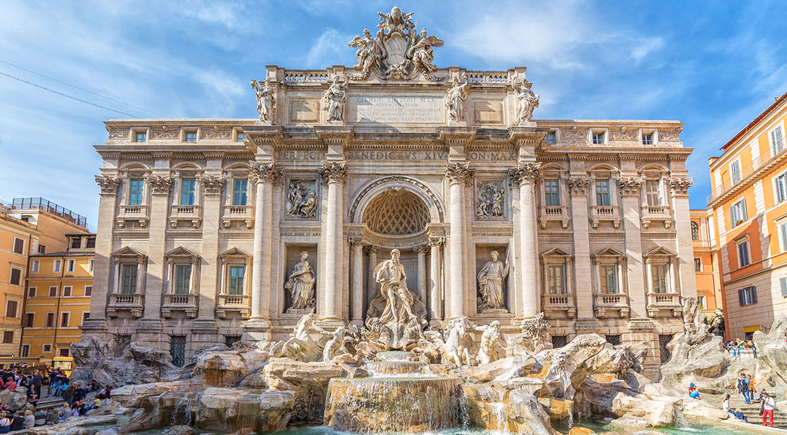 Trevi fountain on a clear blue summer's day