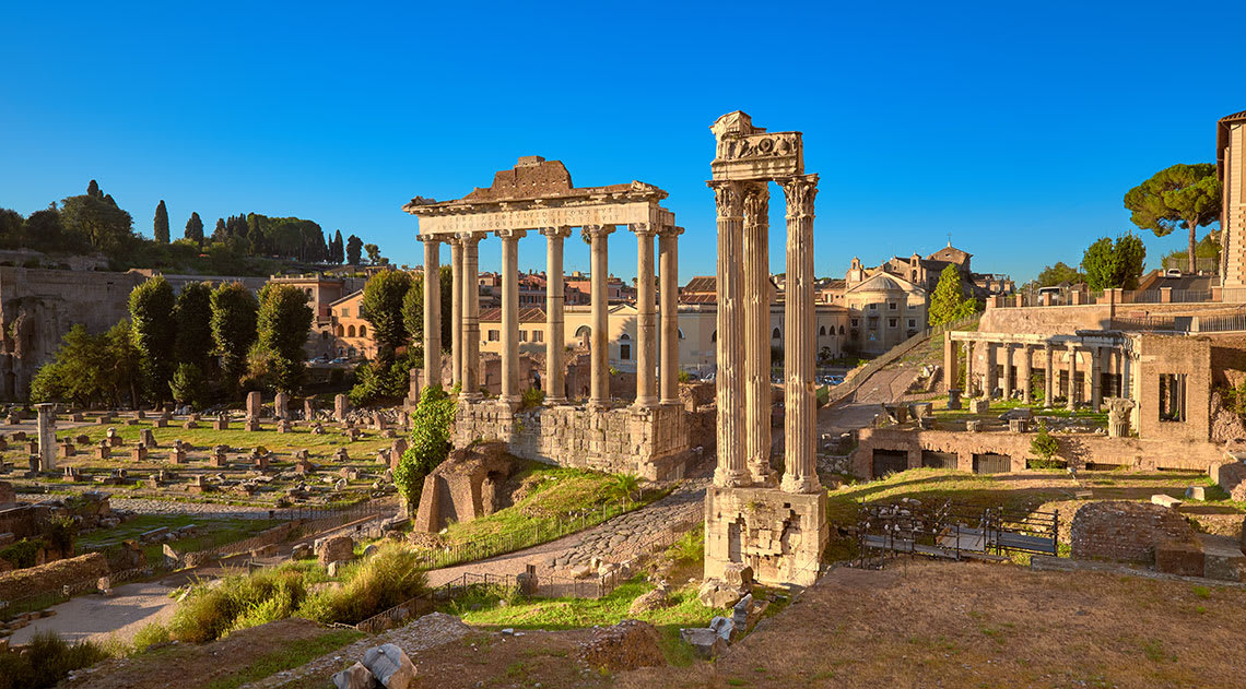 The Forum with a bright blue sky in the background