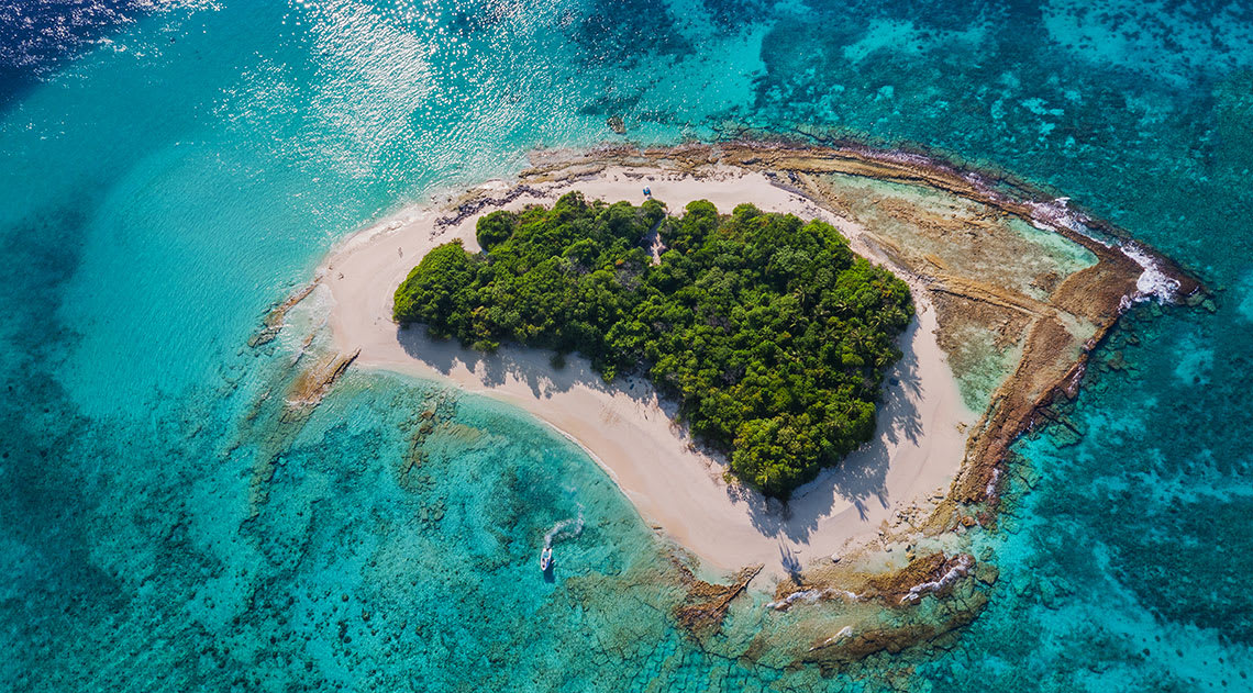 Aerial view of small island with clear sea and forest.