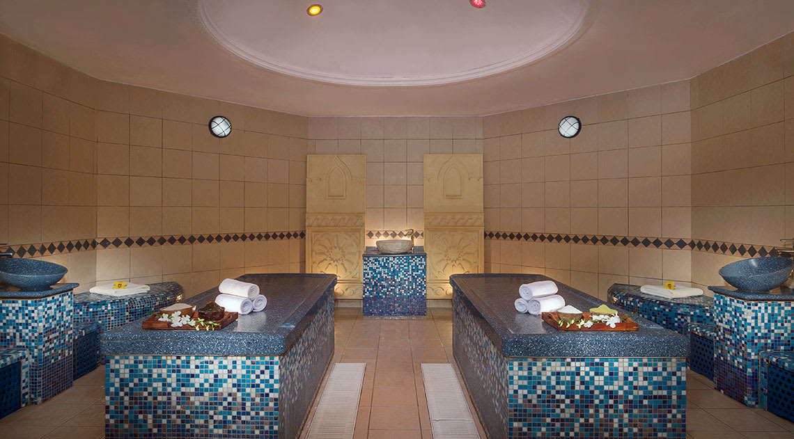 Mosaic spa beds in spa room