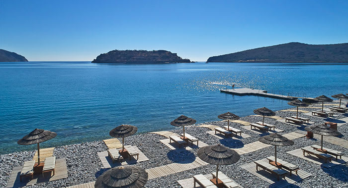 Resort in Crete looking out to the blue sea
