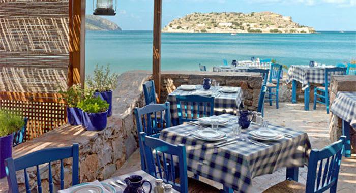 Greek taverna overlooking the sea