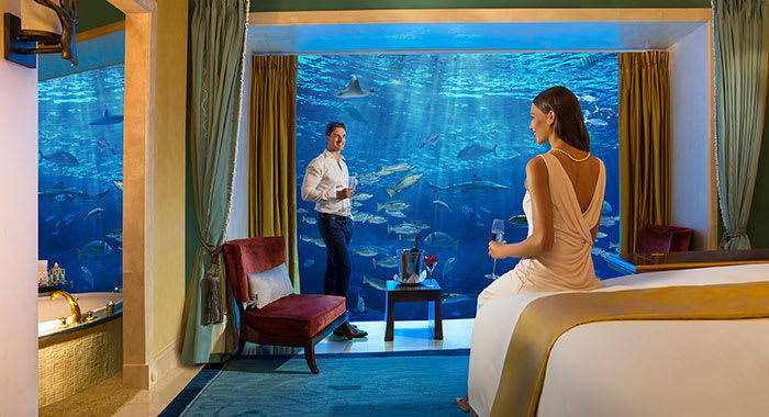 Underwater suite at Atlantis the Palm in Dubai