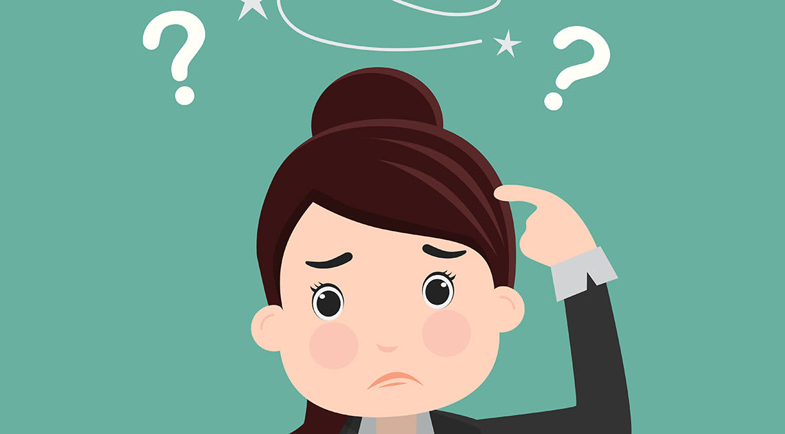 Cartoon of a confused women with brown hair