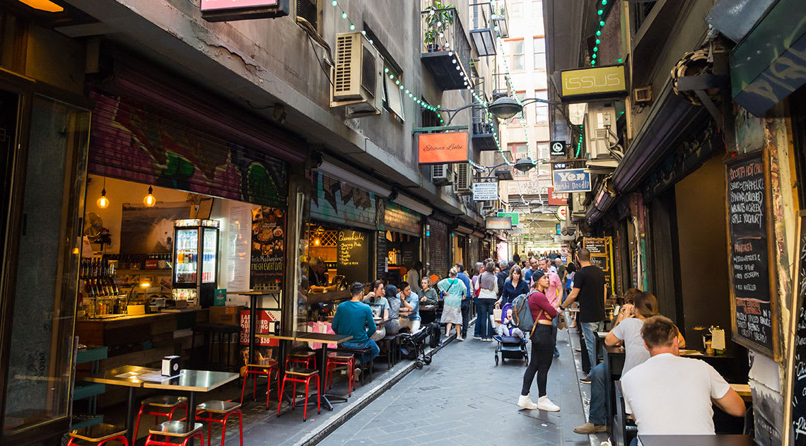 Streets of Melbourne with outdoor cafes