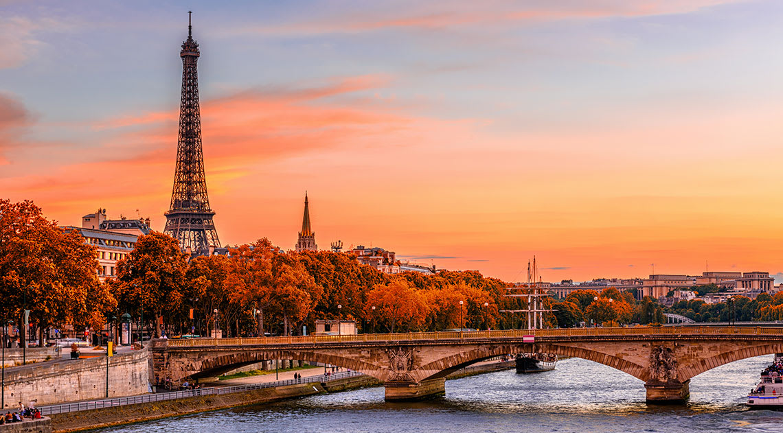Paris including the Eiffel Tower and River Seine at sunset