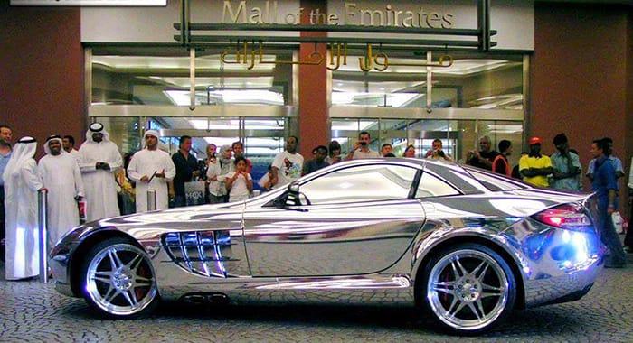White golf plated car