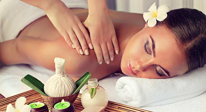 Woman getting a spa treatment massage