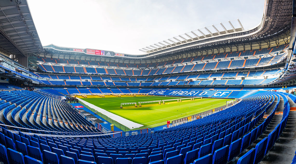 Real Madrid's football grounds with seats and pitch