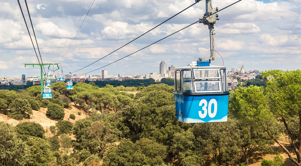 The Teleferico cable cars running over the city