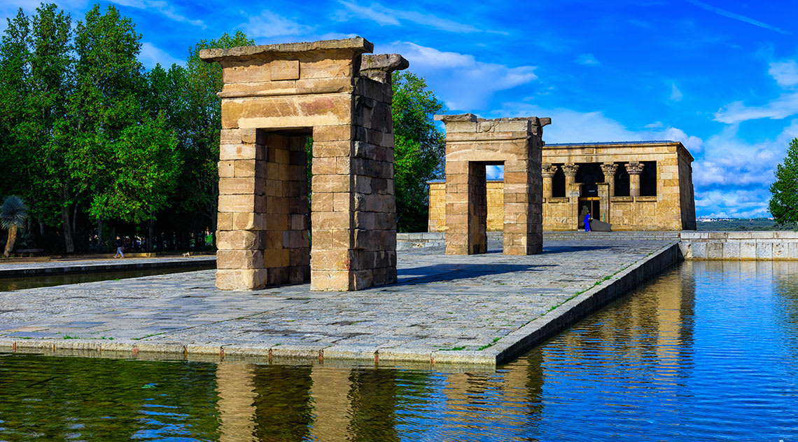 Temple of Debod surrounded by water