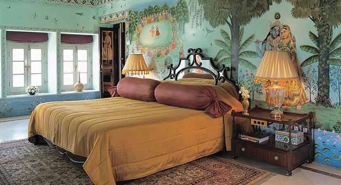 A colourful bedroom at Taj Lake Palace