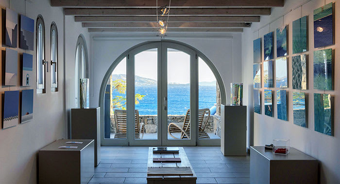 View from indoors out to the sea in Mykonos